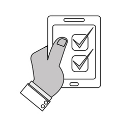 Modern cellphone with checklist icon vector