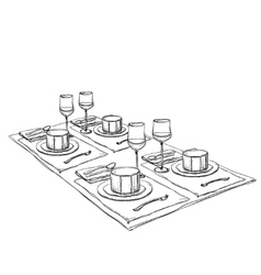 Hand drawn wares decorated table vector