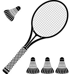 Stencil of racket and badminton shuttlecocks vector