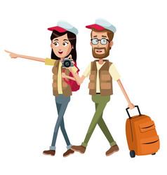 Couple traveler with vest case vector
