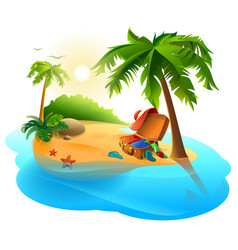 Summer vacation on tropical island open suitcase vector