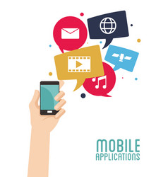 hand hold smartphone mobile applications vector image