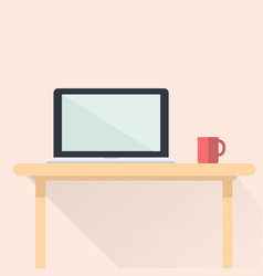 Computer notebook flat design with red cup vector