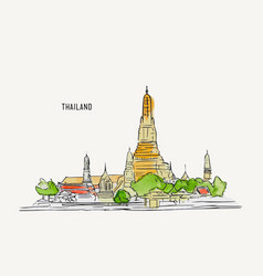 Thai culture concept with han draw sketch temple vector
