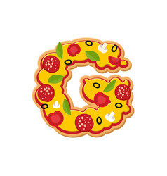 Letter g pizza font italian meal alphabet vector