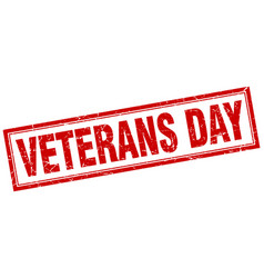 Veterans day red grunge square stamp on white vector