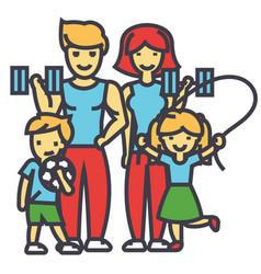 Active sport family happy parents and children in vector