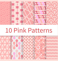 Pink seamless patterns vector