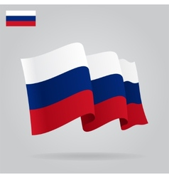 Flat and waving russian flag vector