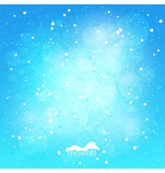 Snowfall abstract blue winter background vector