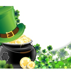 Leprechaun hat and pot with gold coins vector