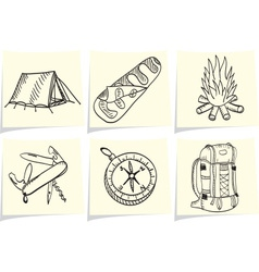 Set of camping and outdoor equipment on yellow mem vector