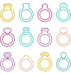 Wedding ring icons vector
