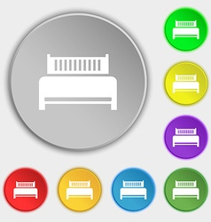 Hotel bed icon sign symbols on eight flat buttons vector
