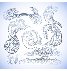 Ocean waves collection vector