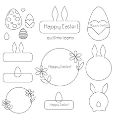 Happy easter outline icons vector