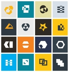 Geometric abstract icon set vector