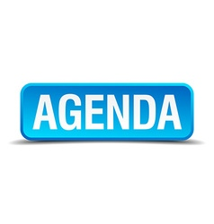 Agenda blue 3d realistic square isolated button vector
