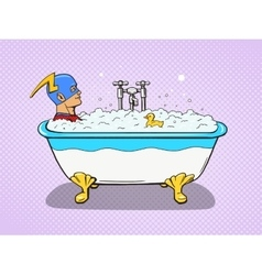 Superhero takes a bath comic vector image