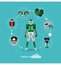 American football player with equipment Sport vector image