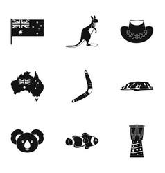 Australian symbols icon set simple style vector