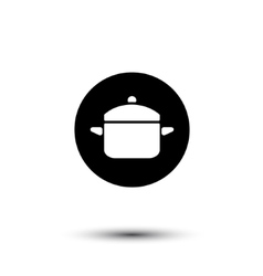 Black and white saucepan icon vector image vector image