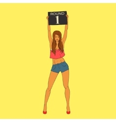 Boxing ring card girl holding a board with the vector