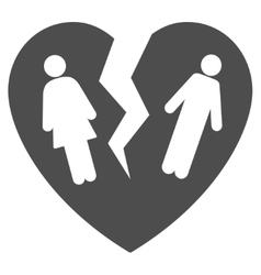 Broken family heart flat icon vector