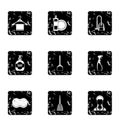 Cleansing icons set grunge style vector