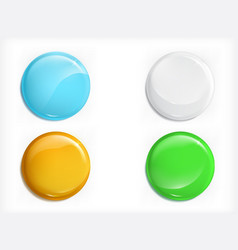 colored glossy round buttons realistic set vector image vector image