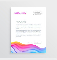 Colorful wave effect letterhead design vector