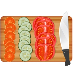 Cutting wooden board with vegetables vector image