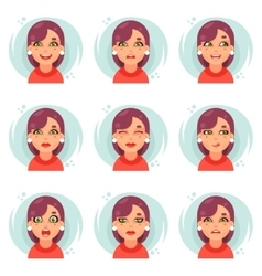 Funny emotions cute girl avatar icons set flat vector image vector image
