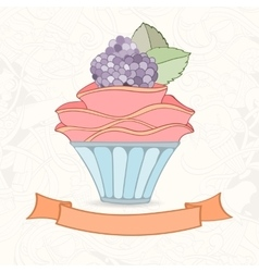 Hand drawn background of doodle style cupcakes vector