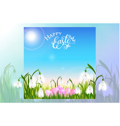 Happy easter card with eggs spring flowers green vector