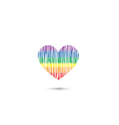 heart sign in lgbt colors rainbow drawn love card vector image