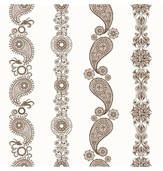 Henna mehndi ornamental borders vector image