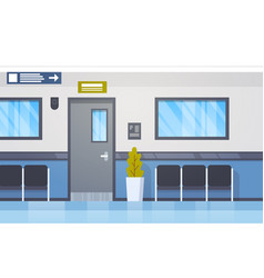 hospital interior empty hall with seats and door vector image