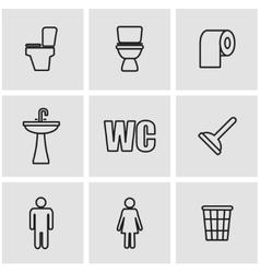 line toilet icon set vector image