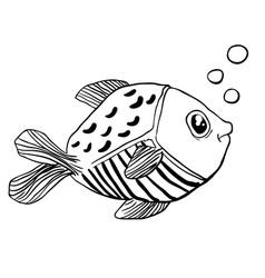 little cute fish doodle vector image