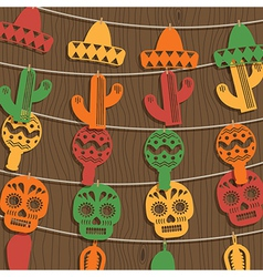 Mexican bunting decoration vector