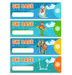 Mountain skier winter sport flyer design template vector