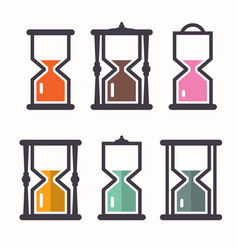 sand clock retro flat design icons set vector image vector image