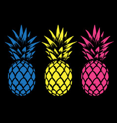 Set of color pineapples vector