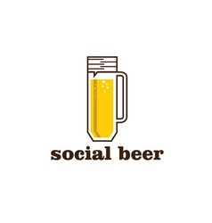 Social beer mug pub design template vector