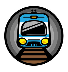 Subway train light rail car icon vector