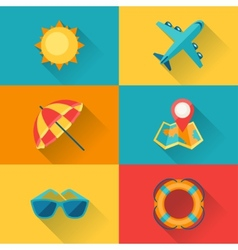 Travel and tourism icon set in flat design style vector image vector image