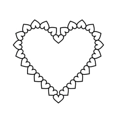 Valentine day heart decorative outline vector