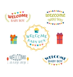 Welcome baby boy baby boy arrival postcards baby vector