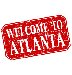 Welcome to atlanta red square grunge stamp vector